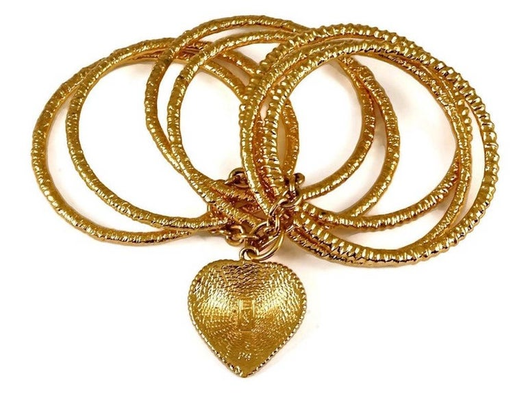 Vintage YVES SAINT LAURENT Ysl Heart Charm Stack Bangles Cuff Bracelet For Sale 4