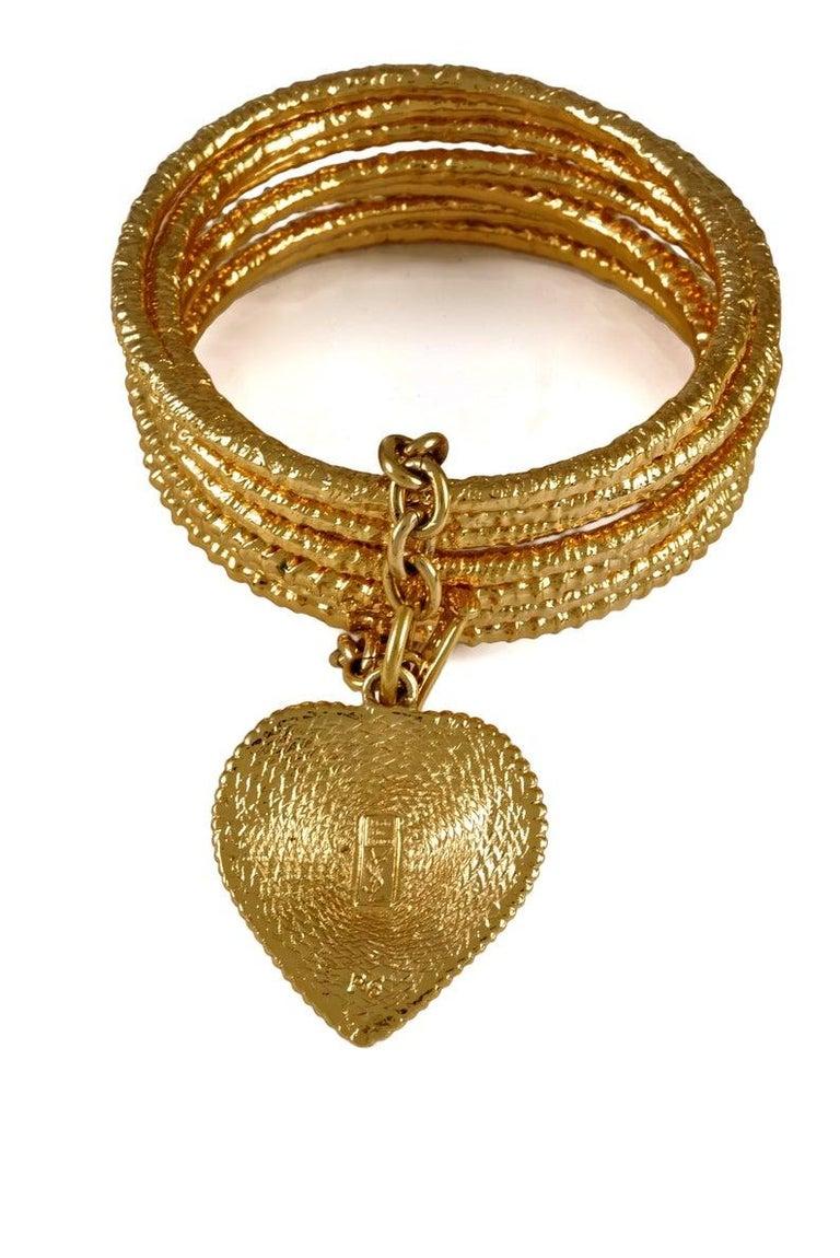 Vintage YVES SAINT LAURENT Ysl Heart Charm Stack Bangles Cuff Bracelet For Sale 5