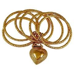 Vintage YVES SAINT LAURENT Ysl Heart Charm Stack Bangles Cuff Bracelet
