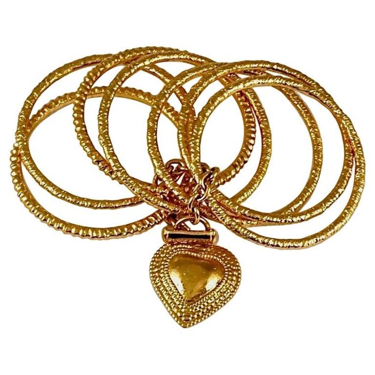 Vintage YVES SAINT LAURENT Ysl Heart Charm Stack Bangles Cuff Bracelet For Sale