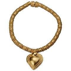 Vintage YVES SAINT LAURENT Ysl Heart Ethnic Link Necklace
