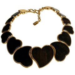 Vintage YVES SAINT LAURENT Ysl Heart Graduated Ebony Wood Choker Necklace