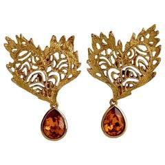 Vintage YVES SAINT LAURENT Ysl Heart Lace Amber Dangling Earrings