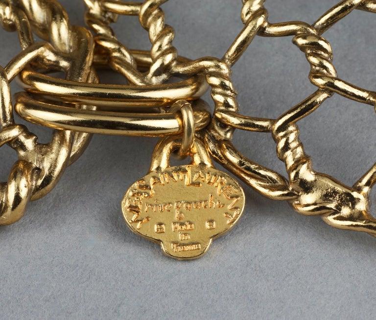 Vintage YVES SAINT LAURENT Ysl Heart Mesh Link Belt For Sale 5