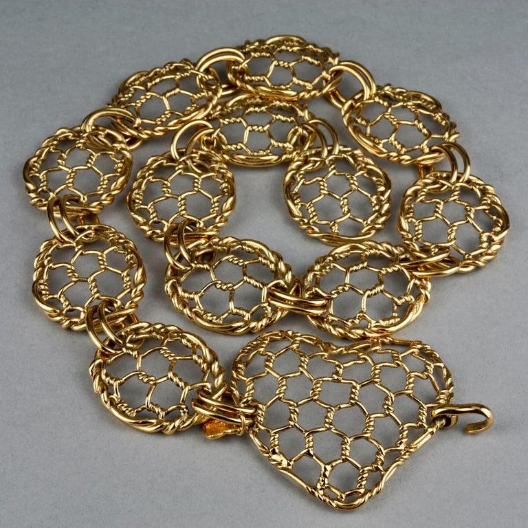 Women's Vintage YVES SAINT LAURENT Ysl Heart Mesh Link Belt For Sale