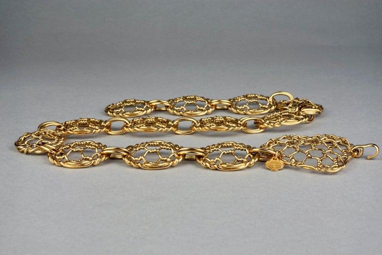 Vintage YVES SAINT LAURENT Ysl Heart Mesh Link Belt For Sale 1