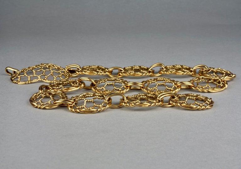 Vintage YVES SAINT LAURENT Ysl Heart Mesh Link Belt For Sale 2