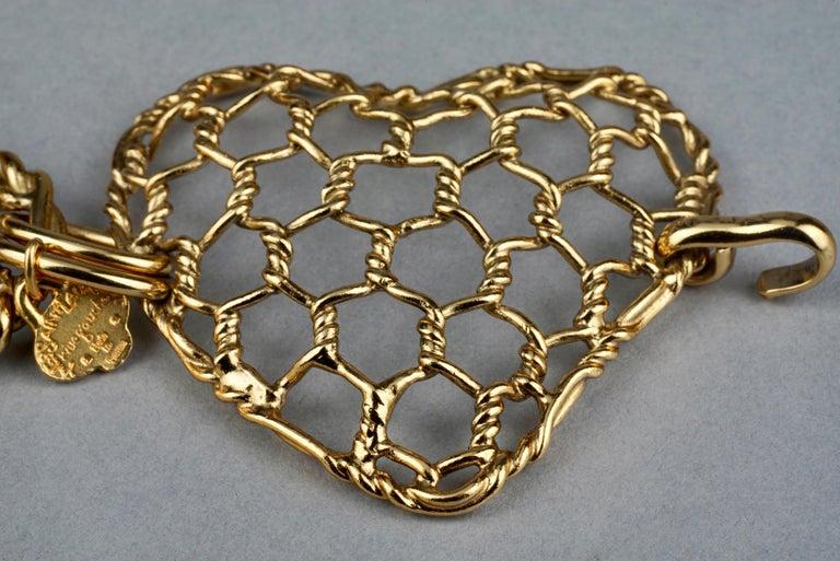 Vintage YVES SAINT LAURENT Ysl Heart Mesh Link Belt For Sale 3