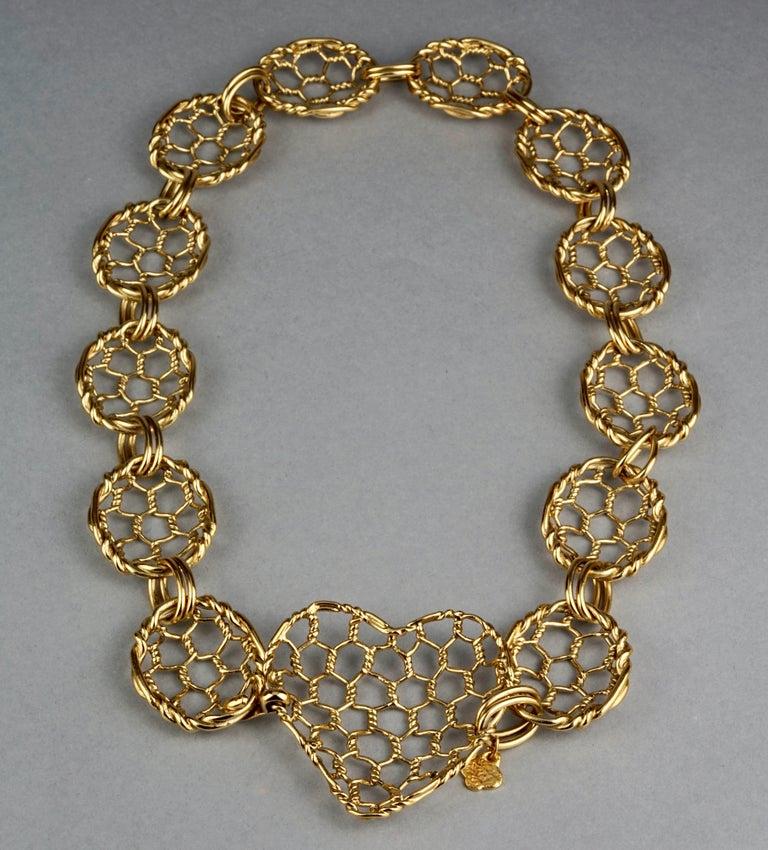 Vintage YVES SAINT LAURENT Ysl Heart Mesh Link Belt For Sale 4