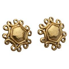 Vintage YVES SAINT LAURENT Ysl Hexagon Swirl Earrings