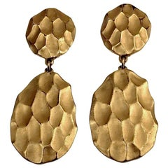 Vintage YVES SAINT LAURENT Ysl Honeycomb Drop Earrings
