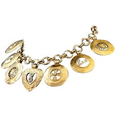Vintage YVES SAINT LAURENT Ysl Iconic Emblem Disc Medallion Charm Necklace