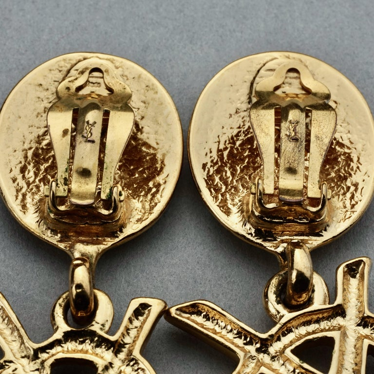 Vintage YVES SAINT LAURENT Ysl Iconic Logo Drop Earrings - Sex and The City For Sale 6