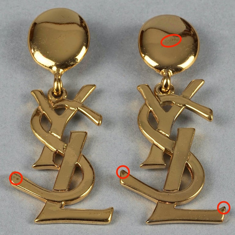 Vintage YVES SAINT LAURENT Ysl Iconic Logo Drop Earrings - Sex and The City For Sale 7
