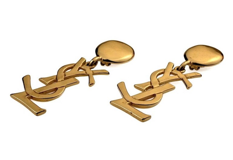 Vintage YVES SAINT LAURENT Ysl Iconic Logo Drop Earrings - Sex and The City In Good Condition For Sale In Kingersheim, Alsace