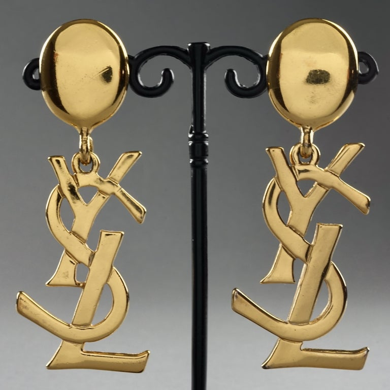 Vintage YVES SAINT LAURENT Ysl Iconic Logo Drop Earrings - Sex and The City For Sale 1