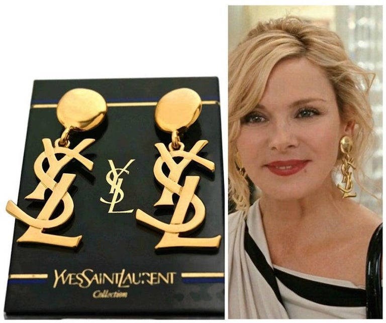 Vintage YVES SAINT LAURENT Ysl Iconic Logo Drop Earrings - Sex and The City For Sale 2