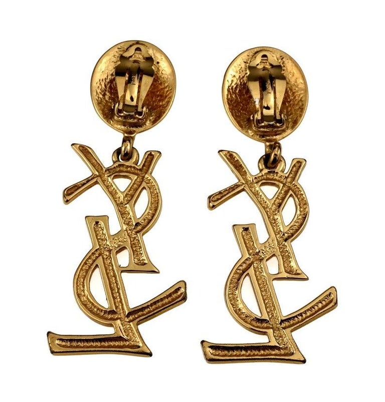 Vintage YVES SAINT LAURENT Ysl Iconic Logo Drop Earrings - Sex and The City For Sale 3