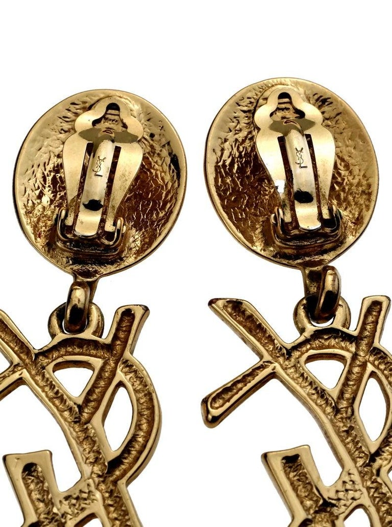 Vintage YVES SAINT LAURENT Ysl Iconic Logo Drop Earrings - Sex and The City For Sale 4