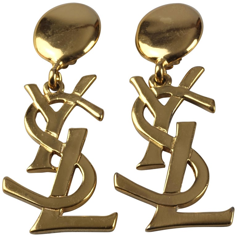 Vintage YVES SAINT LAURENT Ysl Iconic Logo Drop Earrings - Sex and The City For Sale