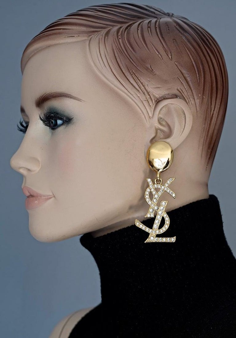Vintage YVES SAINT LAURENT Ysl Iconic Logo Rhinestone Dangling Earrings For Sale 6