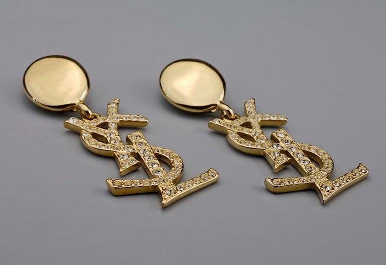 Women's Vintage YVES SAINT LAURENT Ysl Iconic Logo Rhinestone Dangling Earrings For Sale