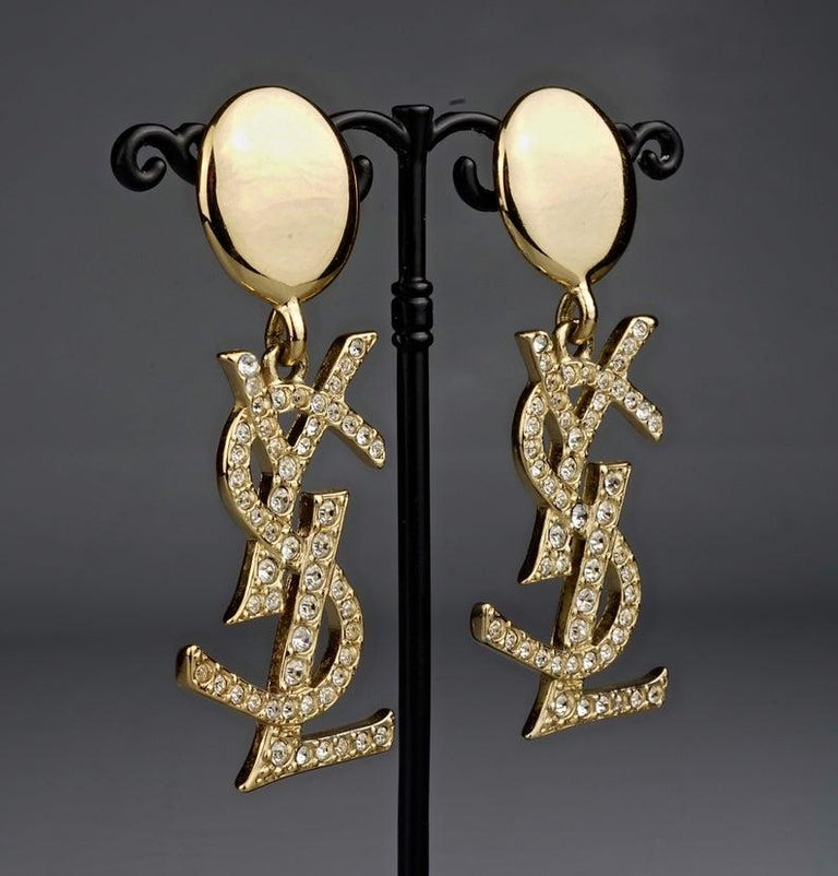 Vintage YVES SAINT LAURENT Ysl Iconic Logo Rhinestone Dangling Earrings For Sale 2