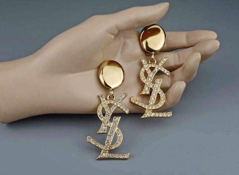 Vintage YVES SAINT LAURENT Ysl Iconic Logo Rhinestone Dangling Earrings For Sale 3