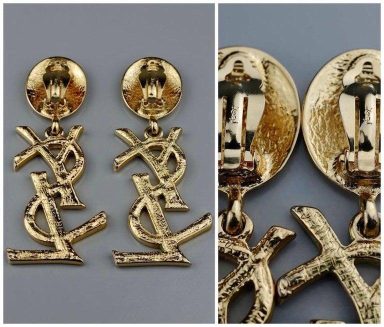Vintage YVES SAINT LAURENT Ysl Iconic Logo Rhinestone Dangling Earrings For Sale 4