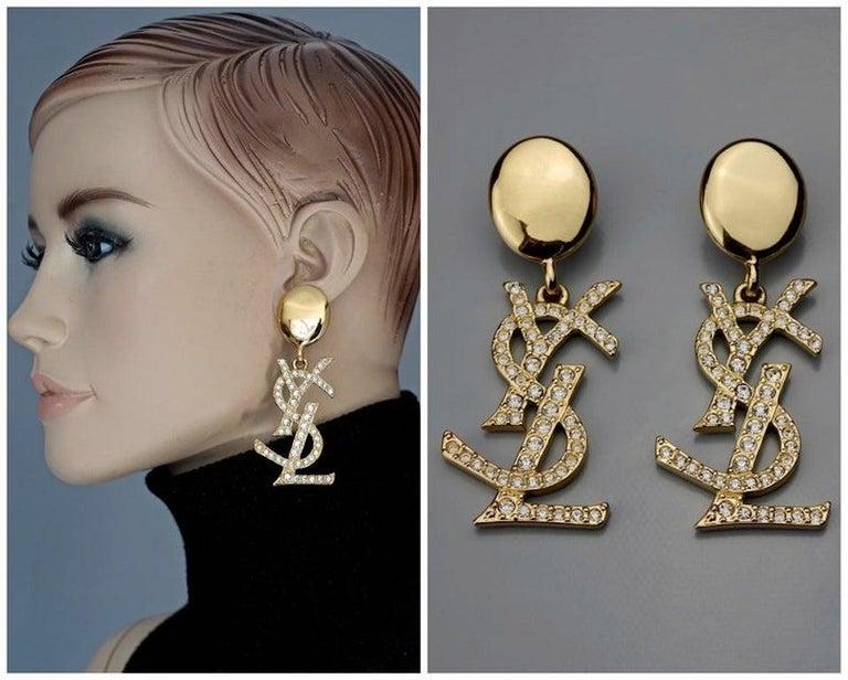 Vintage YVES SAINT LAURENT Ysl Iconic Logo Rhinestone Dangling Earrings For Sale 5