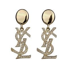 Vintage YVES SAINT LAURENT Ysl Iconic Logo Rhinestone Dangling Earrings