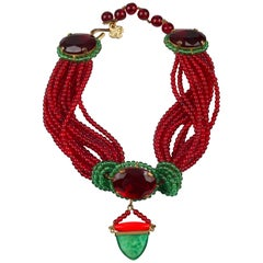 Vintage YVES SAINT LAURENT Ysl Iconic Red Green Glass Bead Necklace