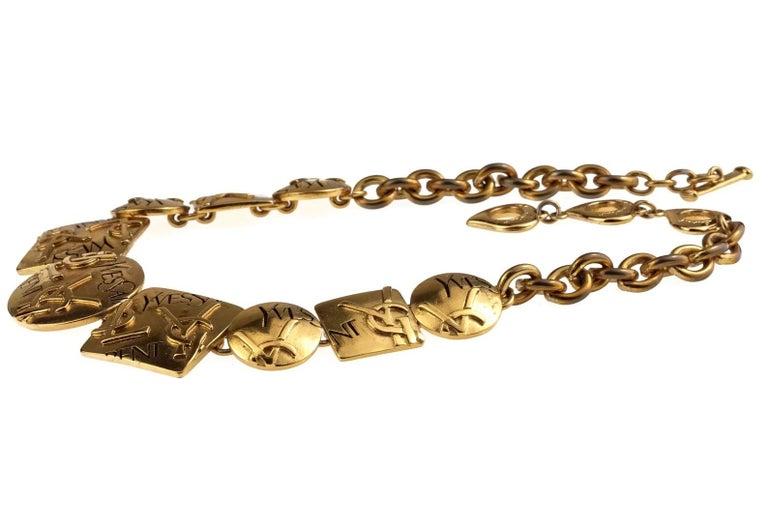 Women's Vintage YVES SAINT LAURENT Ysl Initial Logo Geometric Necklace For Sale