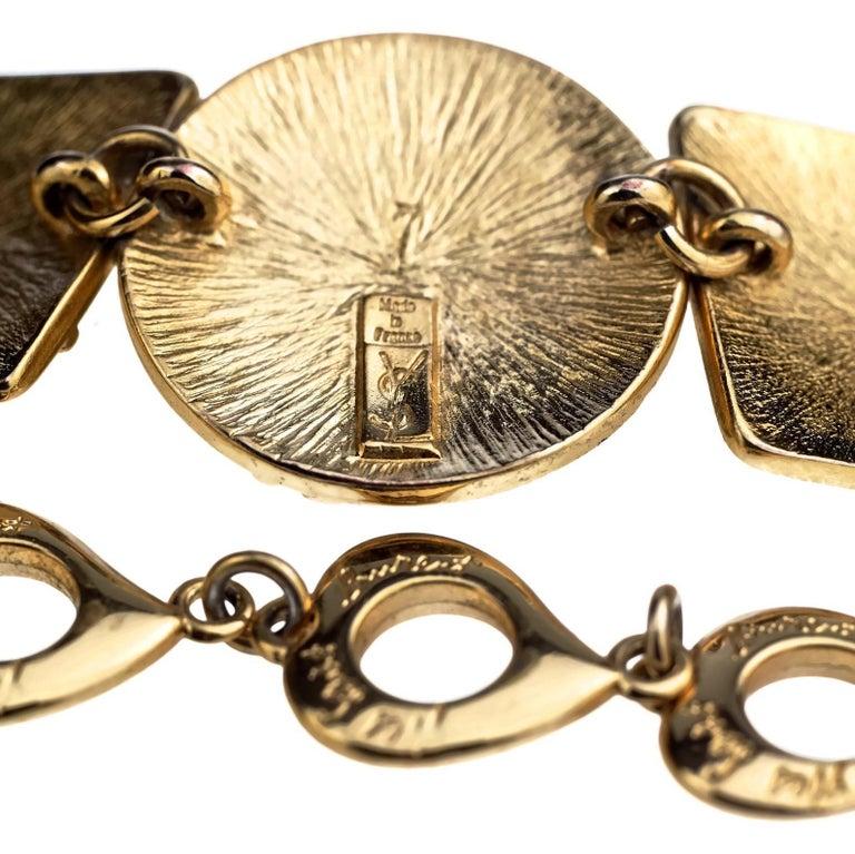 Vintage YVES SAINT LAURENT Ysl Initial Logo Geometric Necklace For Sale 4