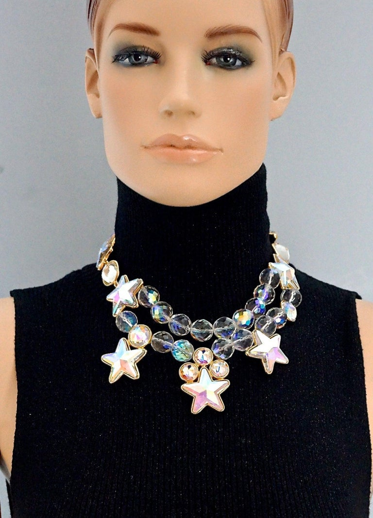 Vintage YVES SAINT LAURENT Ysl Iridescent Star Rhinestone Bead Earrings  Measurements: Height: 1.85 inches (7 cm) Wearable Length: 16.53 inches (42 cm) until 18.70 inches (47.5 cm)  Features: - 100% Authentic YVES SAINT LAURENT. - Chunky iridescent