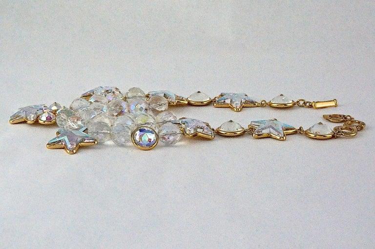 Women's Vintage YVES SAINT LAURENT Ysl Iridescent Star Rhinestone Bead Earrings For Sale