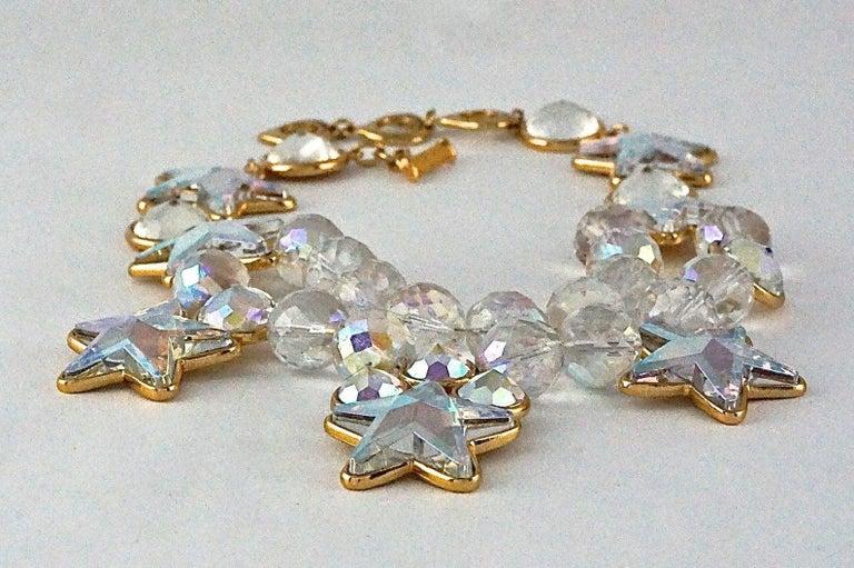 Vintage YVES SAINT LAURENT Ysl Iridescent Star Rhinestone Bead Earrings For Sale 1