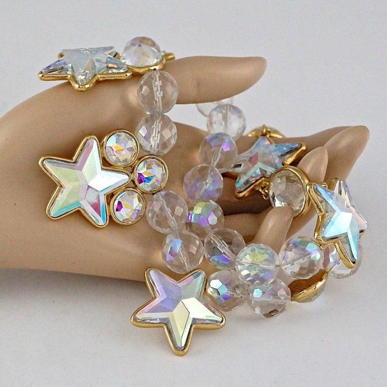 Vintage YVES SAINT LAURENT Ysl Iridescent Star Rhinestone Bead Earrings For Sale 2