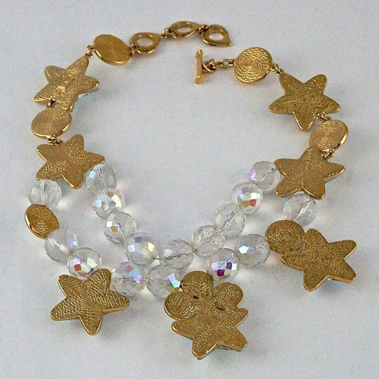 Vintage YVES SAINT LAURENT Ysl Iridescent Star Rhinestone Bead Earrings For Sale 3