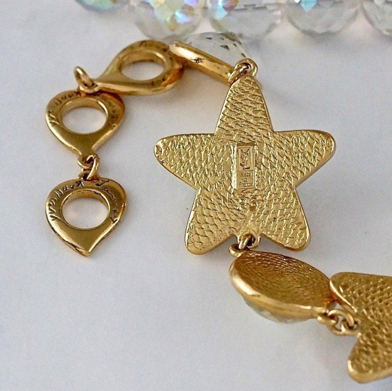 Vintage YVES SAINT LAURENT Ysl Iridescent Star Rhinestone Bead Earrings For Sale 4