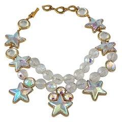 Vintage YVES SAINT LAURENT Ysl Iridescent Star Rhinestone Bead Earrings