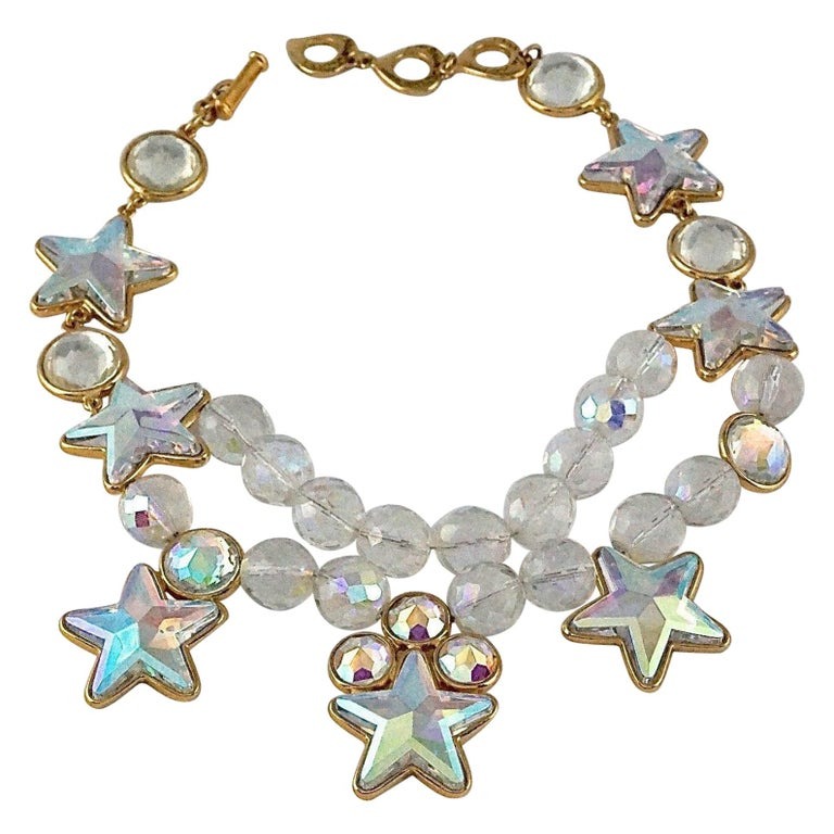 Vintage YVES SAINT LAURENT Ysl Iridescent Star Rhinestone Bead Earrings For Sale