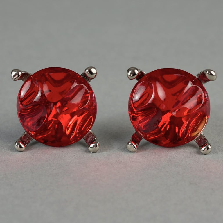 Vintage YVES SAINT LAURENT Ysl Irregular Red Glass Cabochon Earrings For Sale 2