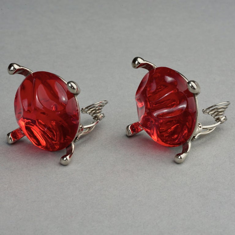 Vintage YVES SAINT LAURENT Ysl Irregular Red Glass Cabochon Earrings For Sale 3