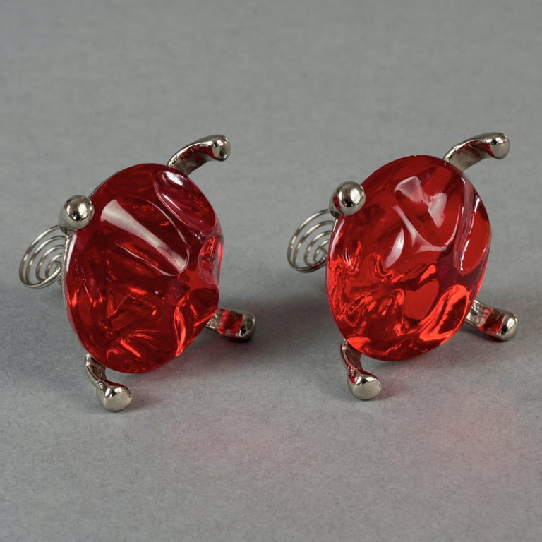 Vintage YVES SAINT LAURENT Ysl Irregular Red Glass Cabochon Earrings For Sale 4