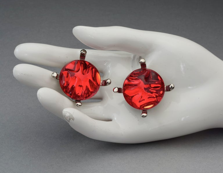 Vintage YVES SAINT LAURENT Ysl Irregular Red Glass Cabochon Earrings For Sale 5