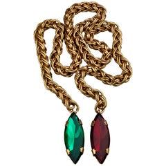 Vintage YVES SAINT LAURENT Ysl Jeweled Lariat Necklace