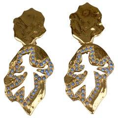 Vintage YVES SAINT LAURENT Ysl  Jeweled Openwork Leaf Dangling Earrings