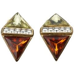 Vintage YVES SAINT LAURENT Ysl Jewelled Diamond Earrings