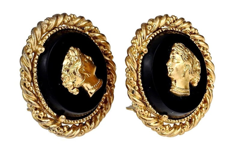 Women's Vintage YVES SAINT LAURENT Ysl Lady Profile Cameo Earrings For Sale